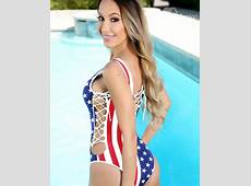 Sexy Lace Up America Flag Pattern Onepiece 3D Painted