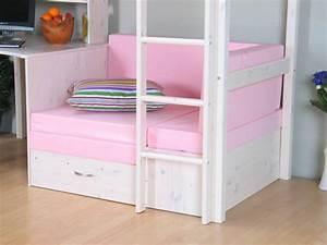Hoogslaper inclusief onderbouw wit met roze kussens Thuka