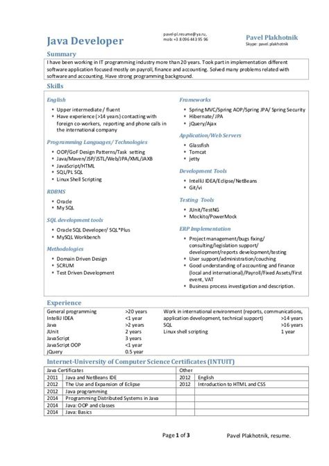 sle resume of 1 year experience in java