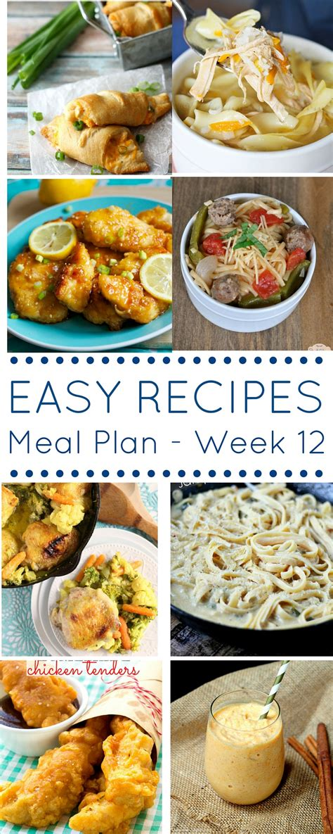 easy dinner recipes meal plan week 12 domestic