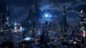 #futuristic, #city, #moonlight, #clouds, #night, #building ...