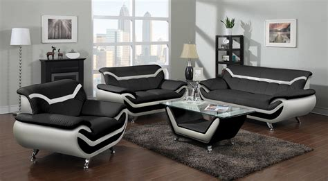 black  white leather contemporary living room set