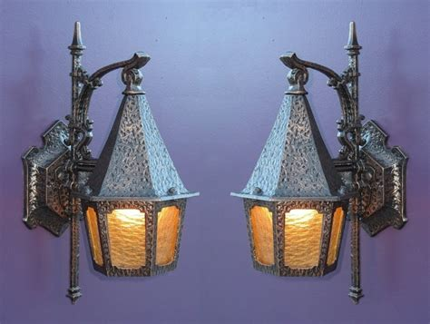 vintage tudor storybook porch light fixture