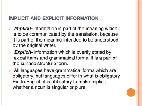 implicit meaning  steps   translation project