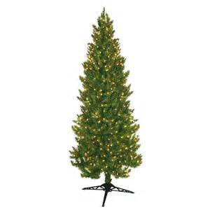 shop 7 ft pre lit spruce slim artificial christmas tree with white incandescent lights at lowes com
