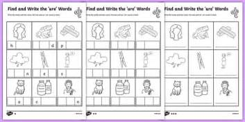 find and write the ure words differentiated worksheet