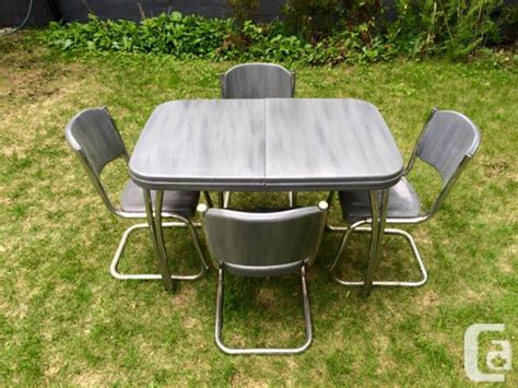 retro table chairs chrome metal for sale in