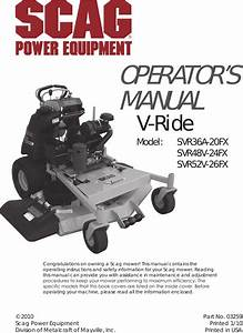 Scag Power Equipment V Ride Svr36a 20fx Users Manual