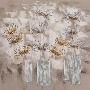 Tableau En Relief : tableau fleurs abstrait 70x70 peint sur toile fibre ~ Melissatoandfro.com Idées de Décoration