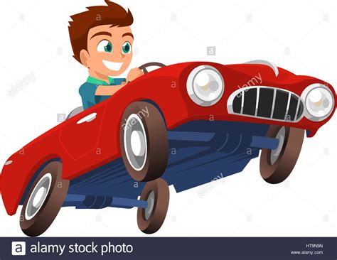Little Boy Driving Red Sports Car Vector Illustration