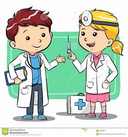 Doctor Doctors Playing Cartoon Children