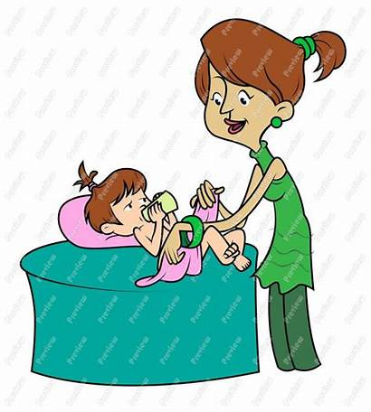 Diaper Change Clipart Mother Clip Cartoon Changing