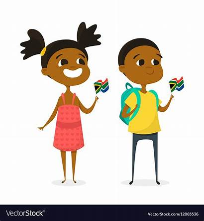 Cartoon Africa South African Clipart Playing Flags