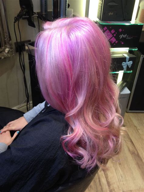 Lavender Lilac Pink Pastel Highlighted Blonde Hair Using