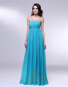 Strapless Chiffon Empire Waist Bridesmaid Dress, Aqua Blue ...