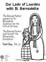 Coloring Lourdes Lady Catholic Bernadette St Pages Printable Saints Template Dali Saint Feast Paper Conception Mary Mother Immaculate Preschool Blessed sketch template