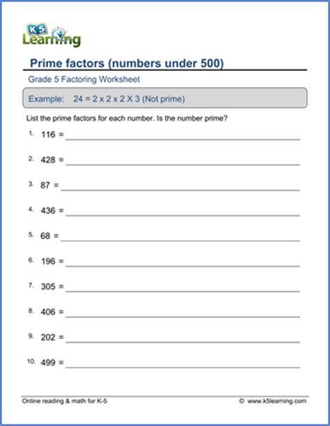 grade 5 factoring worksheets free printable k5 learning