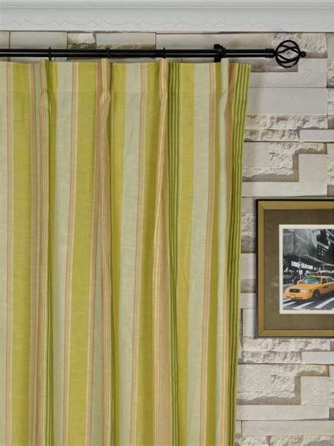 Ready Made Pinch Pleat Drapes - phoebe vertical stripe single pinch pleat linen ready made
