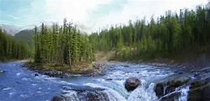 Sunwapta Falls - Jasper Park- Alberta Canada Digital Art