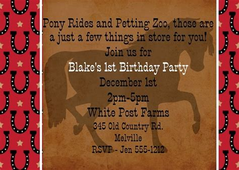 cowboy horse birthday invitations western birthday party