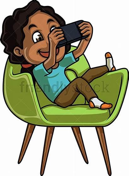 Playing Clipart Boy Games Console Cartoon Chair