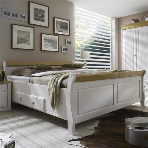 Massivholz Bett 200x200 Eva  Kiefer Massiv 2farbig Weiß