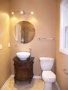 Circle Light Mirror Traditional Powder Room In Palos Hills Wall Mounted