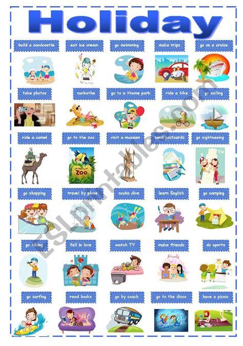 holiday activities pictionary esl worksheet  renata