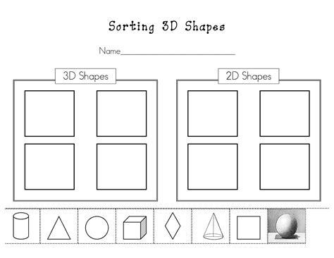 sorting 2d and 3d shapes kinder math 3d