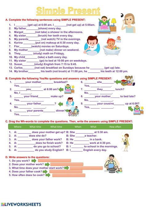 simple present exercises interactive worksheet simple