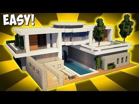 minecraft   build  modern house tutorial  pool garage  youtube minecraft mobilya