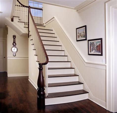 hallway and stair beadboard below chair rails and just a