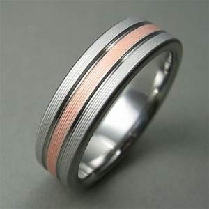 Men39s wedding ring titanium copper comfort fit for Mens copper wedding rings