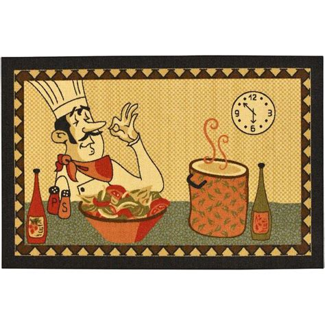 Kitchen Rugs At Home Depot by Ottomanson Siesta Kitchen Collection Chef Design Beige 3
