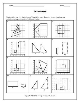 transformations dilations worksheets by funsheets4math tpt
