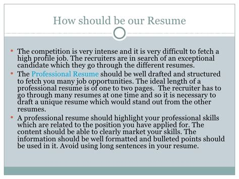 Ideally How Should Your Resume Be by Professional Resume For Getting Best Offer