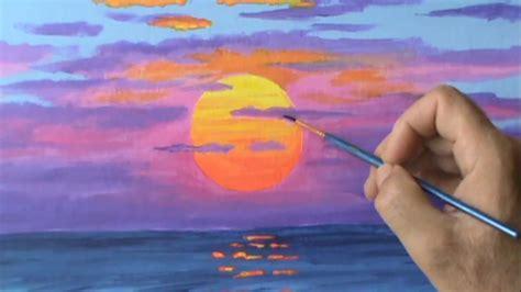 comment peindre a l acrylique sur toile peindre un soleil orange au coucher avec l acrylique sur toile le 231 on de peinture