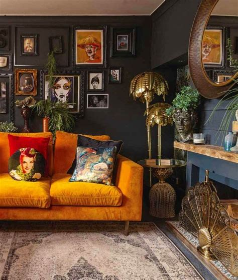 I wanted that saturated color, as deep as i could get, designer kay douglass says. Dark walls, bright sofa | Living room orange, Dark living ...