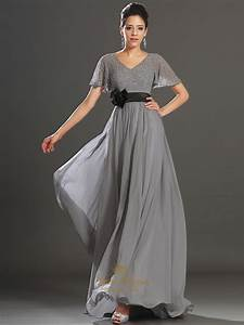 grey v neck chiffon beaded flutter sleeves prom dress with With robe de cocktail gris perle