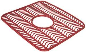 rubbermaid antimicrobial sink protector mat red waves small