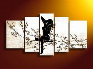 Panel wall art people black white and red decor dream