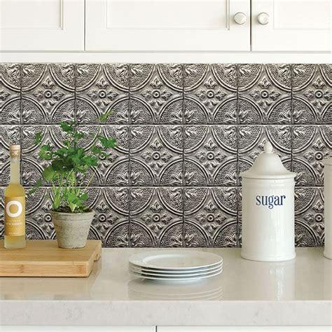 bhf silver tin tile peel  stick backsplash  brewster