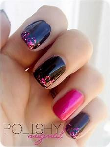 50+ Beautiful Pink and Black Nail Designs 2017