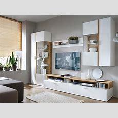 Ims Vlora Moderne Wohnwand Weiß Eiche Echtholzfurnier