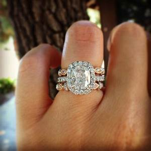 Kirk kara cushion halo engagement ring with cushion cut for Wedding band to go with halo ring