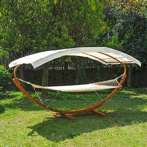 Wooden Hammock With Canopy by Wooden Hammock W Solid Frame Sun Bed Outdoor