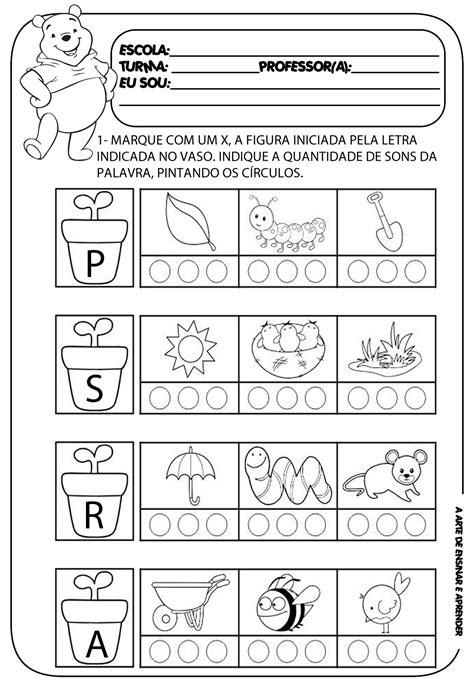 atividade pronta letra inicial e quantidade de sons a arte de ensinar e aprender
