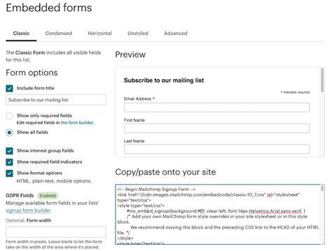 mailchimp embed signup form add a signup form to your website mailchimp