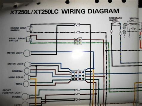 yamaha oem factory color wiring diagram schematic 1984 xt250l xt250lc ebay