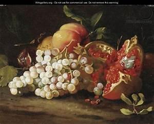 natura morta con uva melagrana e pesche abraham